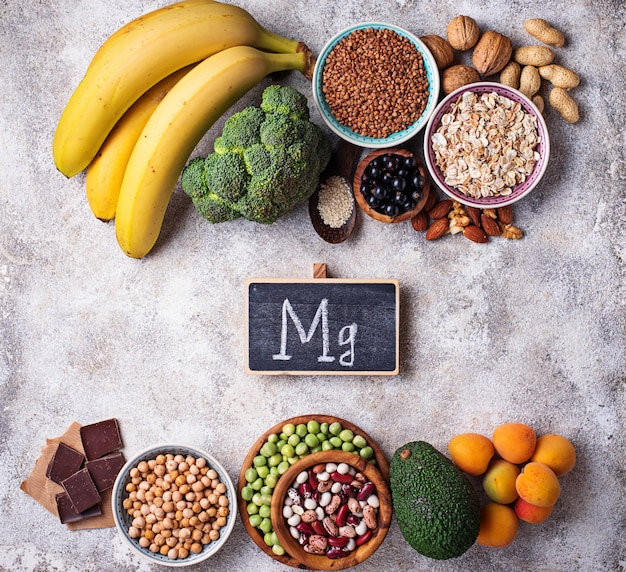 Assortment of  food containing magnesium