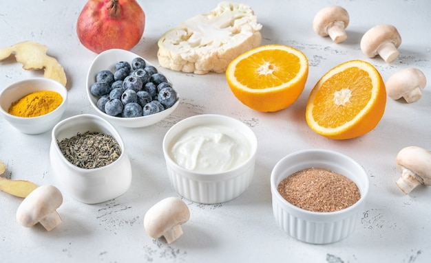 Assortment of foods boosting immune system