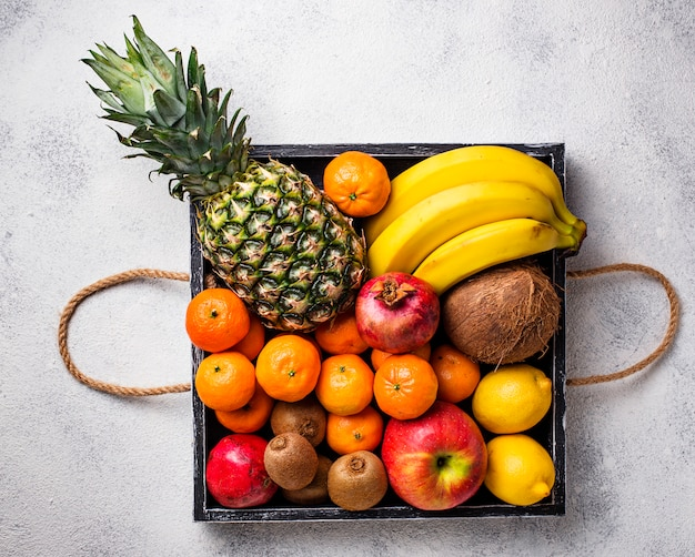 Assortment of fresh tropical fruits