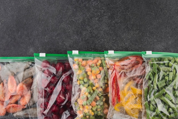 Assortment of frozen healthy food