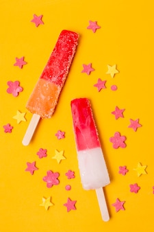 Assortment of fruit popsicles top view