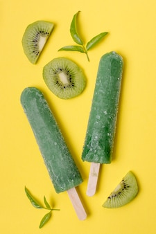 Assortment of fruit popsicles with kiwi