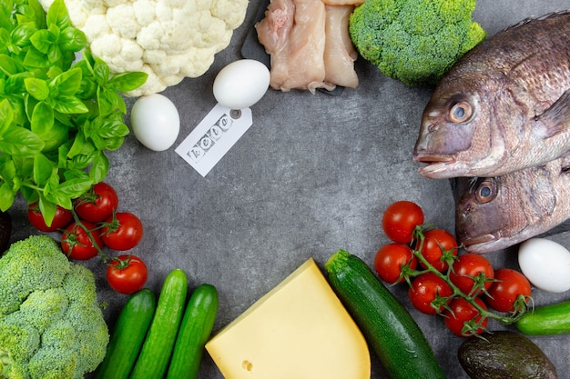 Assortment of healthy ketogenic low carb food ingredients for cooking with vegetables, meat, fish, cheese and eggs.