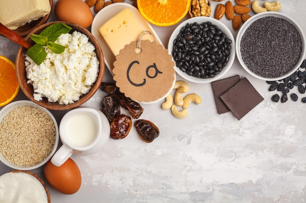 Assortment of high calcium sources.