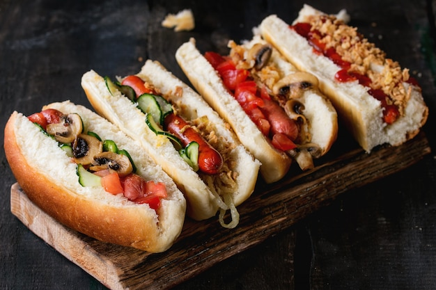 Assortment of homemade hot dogs