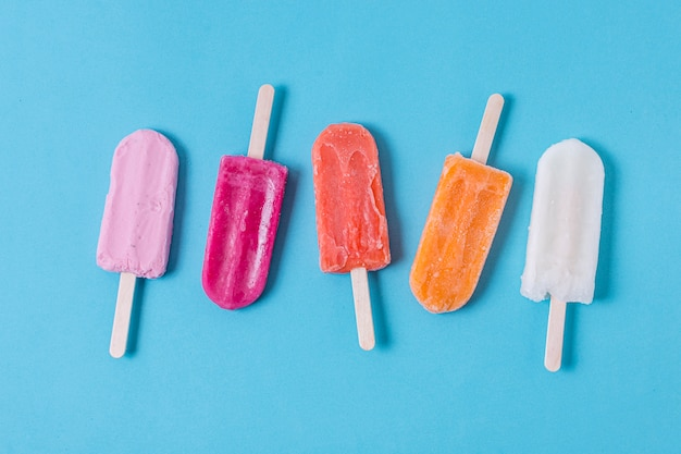 Assortment of homemade popsicle ice cream
