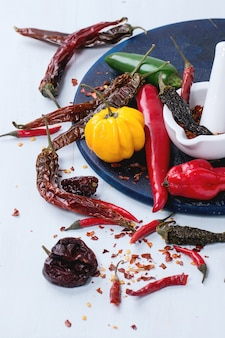 Assortment of hot chili peppers