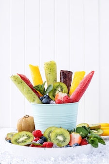 Assortment of ice popsicles