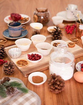 Assortment of ingredients for cake decorating