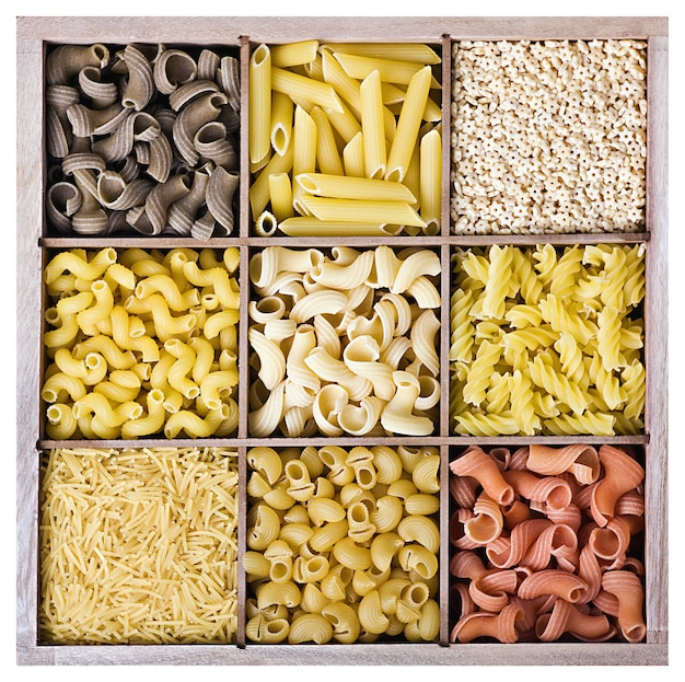 Assortment of italian pasta in a wooden box