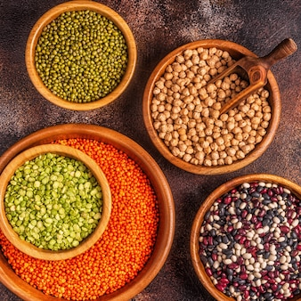 Assortment  of legumes lentils, peas, mung, chickpeas and different beans