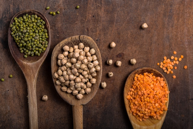 Assortment of legumes in wooden spoons