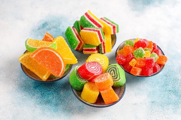 Assortment of multi-colored marmalades.