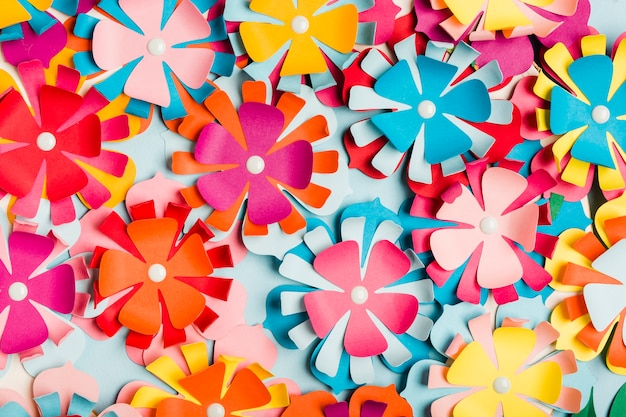 Assortment of multicolored paper spring flowers