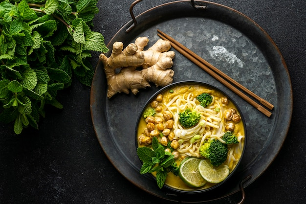 Assortment of noodles on a dark table