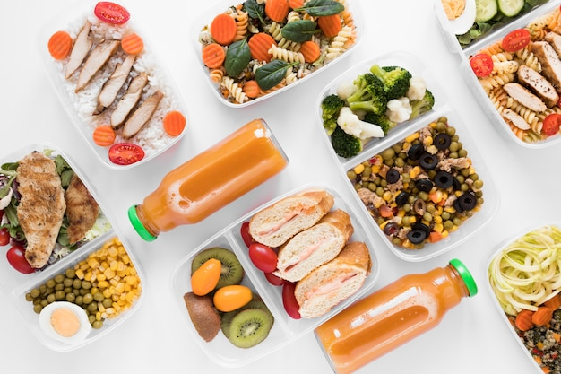 Assortment nourishing food with drink