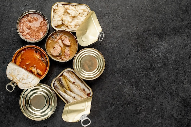 텍스트 복사 공간이있는 돌 배경에 연어, 참치, 고등어와 sprats 및 해산물의 다른 유형과 통조림 된 식품 캔의 구색