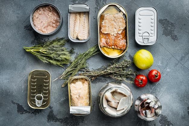 Ассортимент банок консервов с разными видами рыбы, на сером