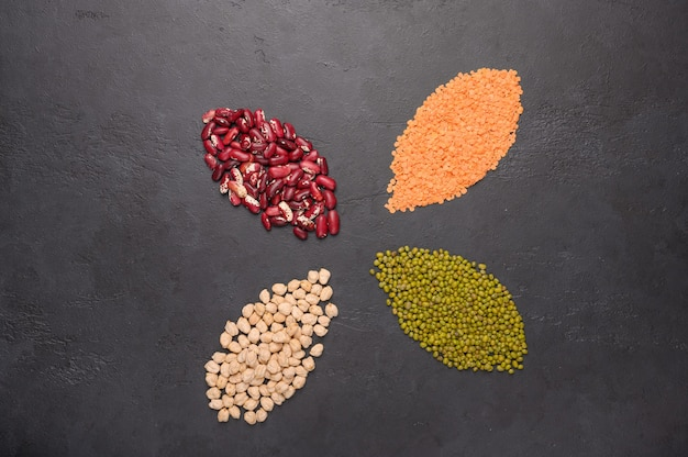 カラフルなマメ科植物レンズ豆豆ひよこ豆マッシュコンクリート表面上面図の品揃え