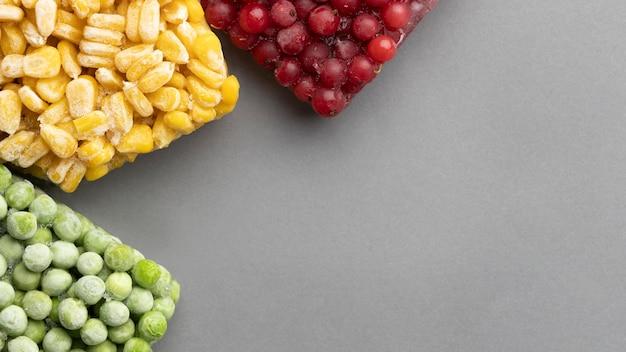 복사 공간이있는 냉동 식품의 구색