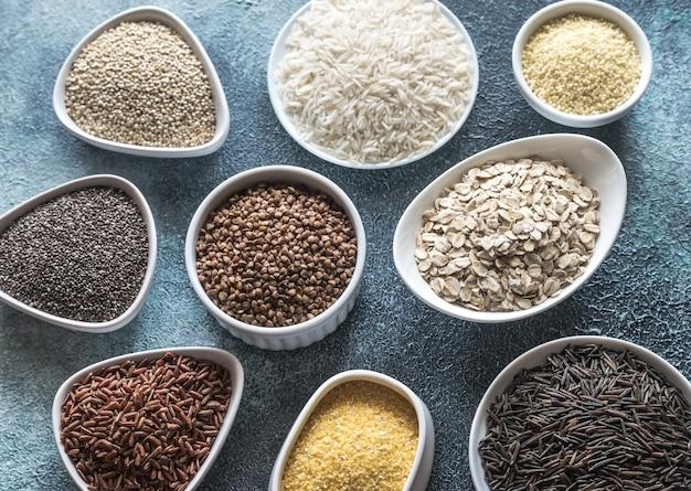 グルテンフリーの穀物の品揃え