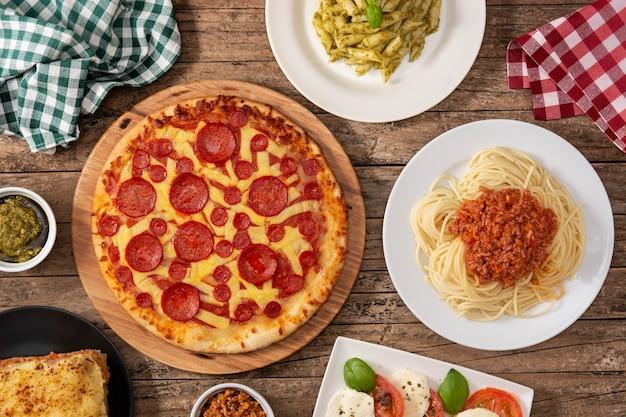 イタリアのパスタ料理の品揃え