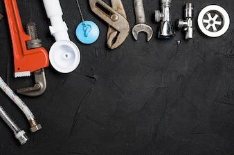 Assortment of plumbing tools