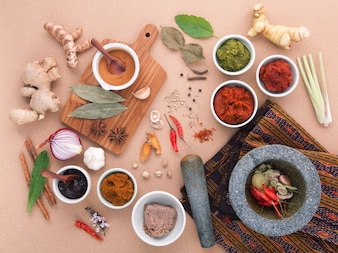 Assortment of  thai food cooking ingredients spice taste .