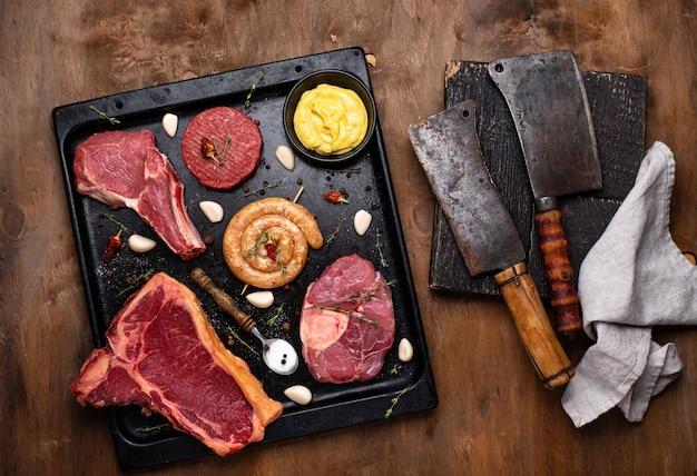 Ассортимент различных видов мяса