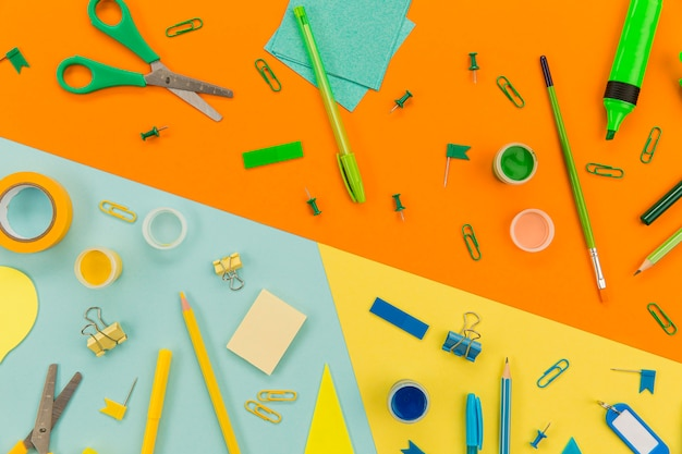 Assortment of office supplies on the table