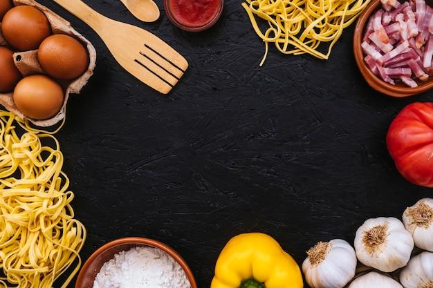 Assortment of pasta ingredients