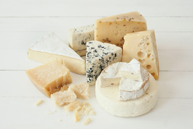 Assortment of pieces of cheese