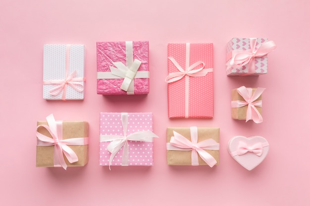 Assortment of pink presents