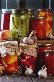 Assortment of preserved food