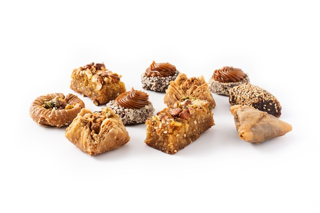 Assortment of ramadan dessert baklava  isolated