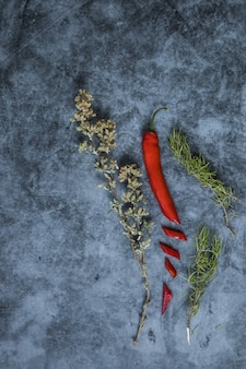 An assortment  of red chilli pepper with thyme and rosemary over a dark surface in vertical