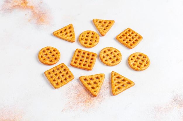 Assortment of salt crackers.