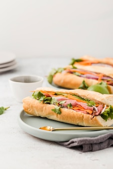 Assortment of sandwiches with ham