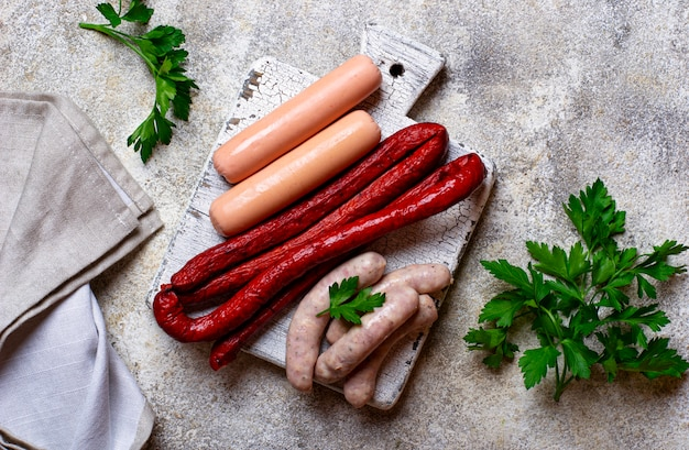 Assortment of sausages for grilled