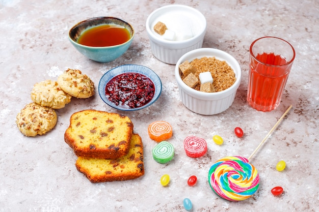 Assortment of simple carbohydrates food on light table