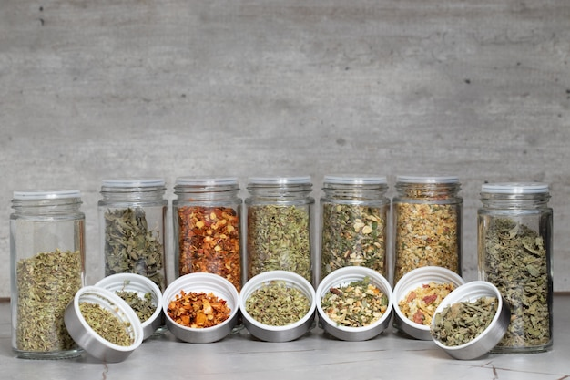 Assortment of spices or seasonings for cooking.