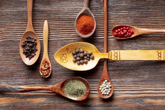Assortment of spices in spoons