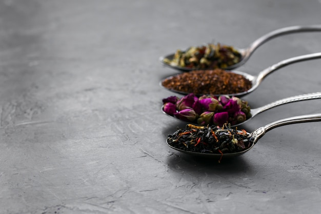 Assortment of spoons with spices Free Photo