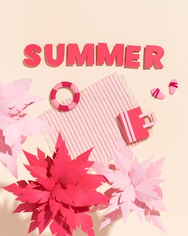 Assortment of summer beach made from different materials