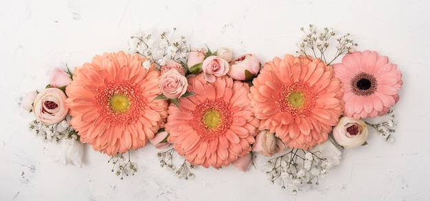 Assortment of summer flowers and gerbera