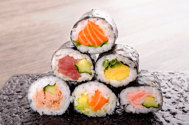 Assortment of sushi rolls