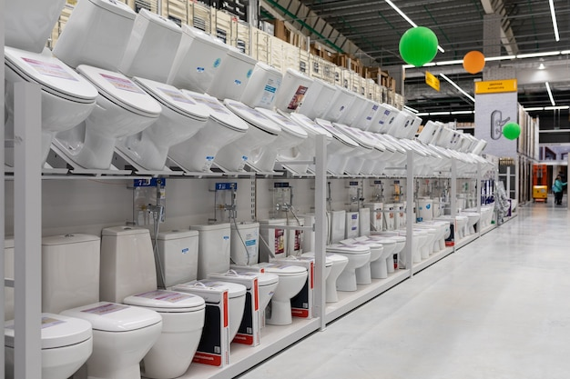 Assortment of toilets in the store.