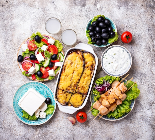 Assortment of traditional greek dishes