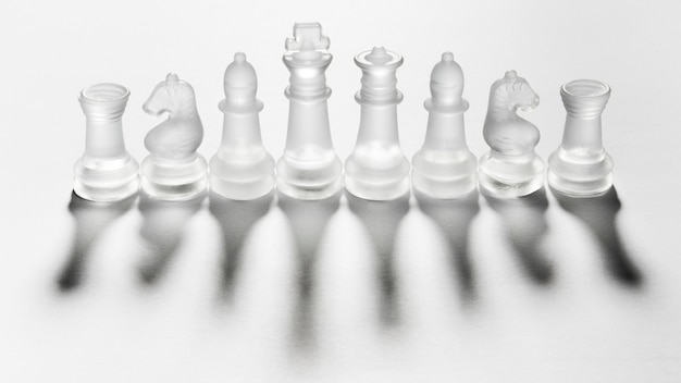 Assortment of transparent chess pieces