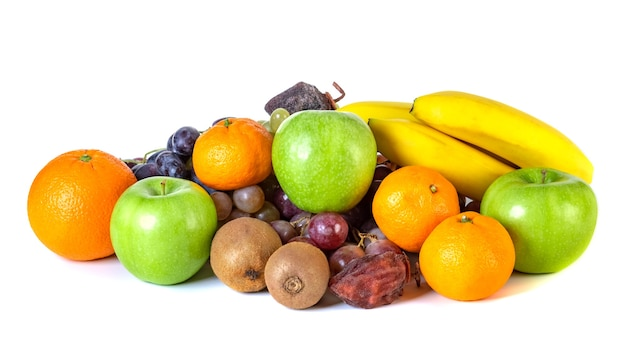 Assortment or tropical fruits isolated on white. fruit
